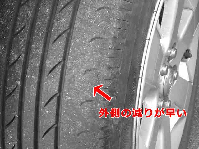 タイヤ 外側の減りが早い